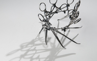 "<p><em>I Made It (Series #1)</em> | used surgical tools and zip ties | h 4"" w 7"" d 7"" 