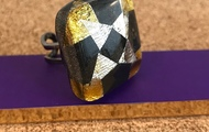 <p>painted wood and resin ring $45</p>