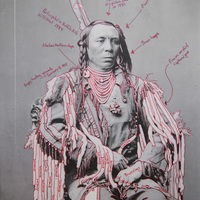 """<p>Title: Peelatchixaaliash / Old Crow (Raven)</p> <p><em>Artist-manipulated digitally reproduced photograph by C.M.</em></p> <p><em>(Charles Milton) Bell, National Anthropological Archives, Smithsonian Institution</em></p> <p>Medium: Pigment Print on Archival Photo-Paper</p> <p>Size: 24"""" x 16.45"""" with additional 1"""" border</p> <p>Date: 2014</p>"""