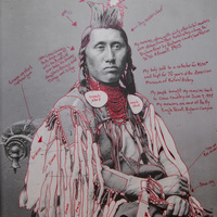 <p>Title: D&eacute;axitchish / Pretty Eagle&nbsp;</p> <p><em>Artist-manipulated digitally reproduced photograph by C.M. </em></p> <p><em>(Charles Milton) Bell, National Anthropological Archives, Smithsonian Institution</em></p> <p>Medium: Pigment Print on Archival Photo-Paper</p> <p>Size: 24&rdquo; x 16.45&rdquo; with additional 1&rdquo; border</p> <p>Date:&nbsp; 2014</p>