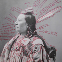 """<p>Title: Alaxchiiaahush/Many War Achievements / Plenty Coups</p> <p><em>Artist-manipulated digitally reproduced photograph by C.M. </em></p> <p><em>(Charles Milton) Bell, National Anthropological Archives, Smithsonian Institution</em></p> <p>Medium: Pigment Print on Archival Photo-Paper</p> <p>Size: 24"""" x 16.45"""" with additional 1"""" border</p> <p>Date: 2014</p>"""