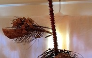 """<p style=""""text-align: center;""""><strong>ShipSale, DragonTale, I Built A Wall Around A Ball</strong></p> <p style=""""text-align: center;""""><strong>Kinetic Sculpture, Video Available</strong></p> <p style=""""text-align: center;"""">Infloresence of Palm tree and glue, roughly 5' x 4'</p>"""