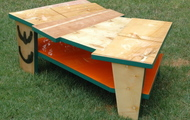 "<p style=""text-align: center;""><strong>COFFEE TABLE WITH ORANGE SHELF / SOLD</strong></p>"