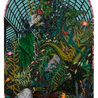 <p><span>Winter Garden, 2015,</span>acrylic, colored pencil and collage on paper mounted to canvas, 3'x5'</p>