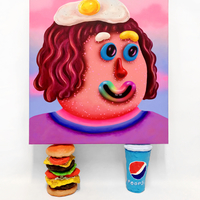 <p><em>Spice Gurl<br /></em>55 x 60 x 3.5cm resting on 19cm Burger and Poopsi Coke<br />Acrylic and airbrush on canvas<br />2018</p>