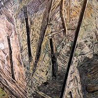 """<div style=""""text-align: center;"""">Stump Picture (outside Capilano)</div> <div style=""""text-align: center;""""></div> <div style=""""text-align: center;"""">Acrylic, ink+graphite on 14""""by18"""" panel. 2017-18.</div>"""
