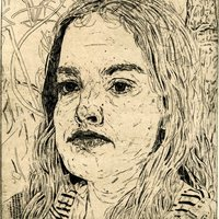 """<p align=""""center"""">Sara-Jeanne</p> <p align=""""center"""">9""""by8"""" etching on 15""""by11"""" paper. 2018.</p>"""
