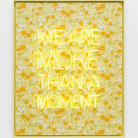 <p>Genevieve Gaignard<br /><em>We Are More Than A Moment, 2020&nbsp;</em><br />Neon, vintage wallpaper on Panel<br />62.5 x 50.5 x 3 inches</p>