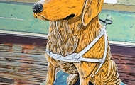 """<p style=""""text-align: center;"""">Obedient Dog</p> <p style=""""text-align: center;"""">Acrylic, ink+graphite on 24""""by18"""" panel. 2020.</p>"""