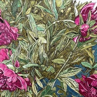 """<p style=""""text-align: center;"""">Don's Peony</p> <p style=""""text-align: center;"""">Acrylic, ink + graphite on panel. 12""""by16"""". 2019.</p>"""